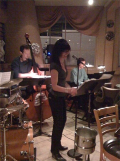 Jazz Vocalist Paula Bradman performing at Servino's Restaurant in Tiburon, California
